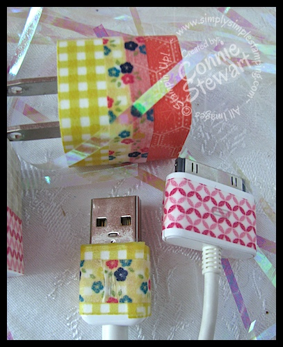 Washi Tape iPhone Cords - www.SimplySimpleStamping.com