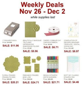 Weekly Deals November 26-December 2 - www.SimplySimpleStamping.com