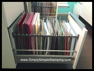 The most AMAZING 8 ½ x 11 AND 12 x 12 paper storage system!  IKEA kitchen cabinets with a little conversion - www.SimplySimpleStamping.com