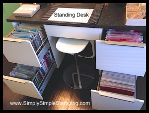 "My standing desk with 8 ½"" x 11 AND 12 x 12 paper storage drawers - IKEA kitchen cabinets with a little conversion - www.SimplySimpleStamping.com"