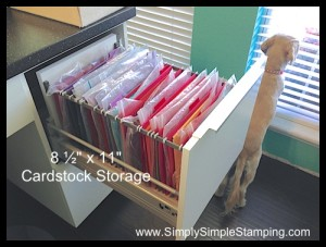"""The most AMAZING 8 ½"""" x 11 AND 12 x 12 paper storage system!  IKEA kitchen cabinets with a little conversion - www.SimplySimpleStamping.com"""