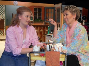 "Christina Stewart as Shelby and Connie Stewart as Truvy in ""Steel Magnolias"""