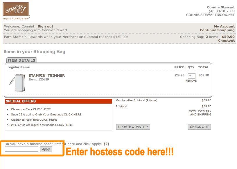 Hostess Code - www.SimplySimpleStamping.com