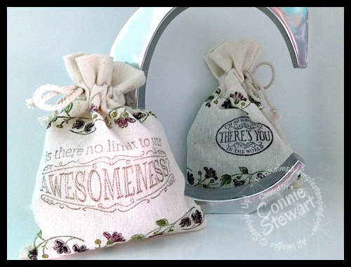 Stampin' Gals Gone Wild Wednesday - Stamping & Coloring Muslin Bags - www.SimplySimpleStamping.com - Created by Connie Stewart