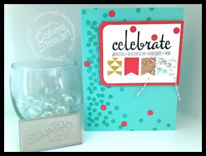 NOW or WOW / FLASH CARD Video - Celebrate Banner Card by Connie Stewart - www.SimplySimpleStamping.com