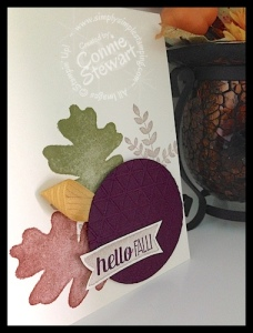 Clean and Simple Hello Fall card by Connie Stewart - www.SimplySimpleStamping.com