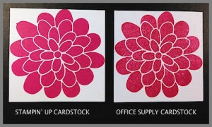 Comparing Stampin' Up cardstock to office supply cardstock.  www.SimplySimpleStamping.com