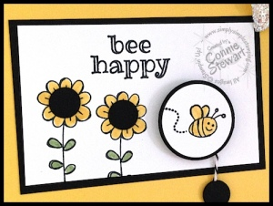 FLASH CARD - Bee happy Spinning Pull Card - video tutorial at www.SimplySimpleStamping.com