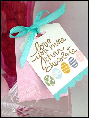 Love You More than Chocolate Easter Box by Connie Stewart - video tutorial available at www.SimplySimpleStamping.com - March 19, 2015 post