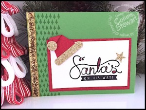 Flash Card - Santa's Hat - Video Tutorial available at www.SimplySimpleStamping.com - look for the them December 7, 2015 blog post
