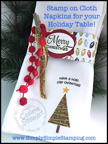 Video Tutorial – Stamped Cloth Napkins to Dress Up a Holiday Table