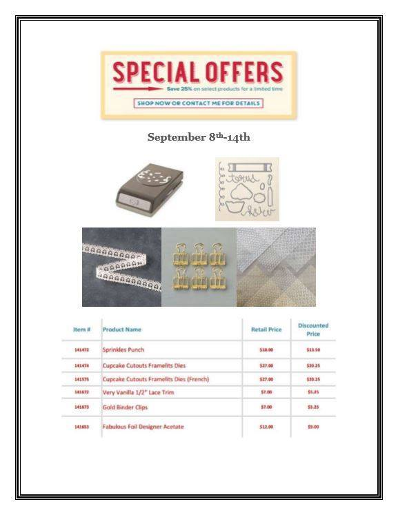 SPECIAL OFFERS from Stampin' Up - September 8 - 14, 2016! Order at www.SimplySimpleStamping.com