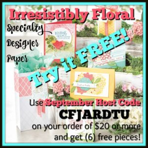 Use the SEPTEMBER HOST CODE CFJARDTU on any order of $20 or more and receive (6) Bonus tutorials PLUS (6) pieces of Irresistibly Floral Specialty Designer Series Paper to create the projects! Order today at www.SimplySimpleStamping.com