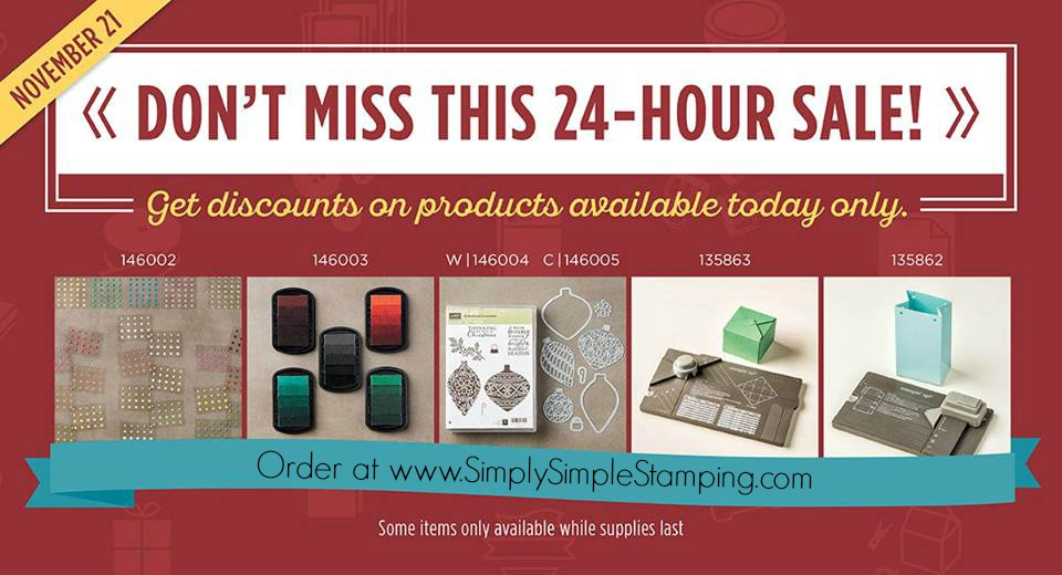 Check out these great deals ONE DAY ONLY!  Online Extravaganza at www.SimplySimpleStamping.com!