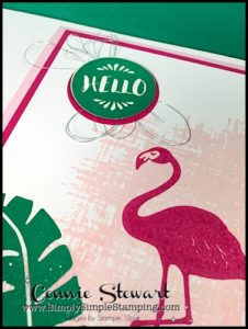 Make It Monday - FLAMINGO HELLO CARD - download the FREE tutorial at www.SimplySimpleStamping.com - look for the April 17, 2017 blog post!