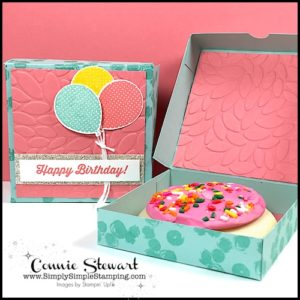 Simply Simple Pizza Style Cookie Box - Video Tutorial by Connie Stewart - www.SimplySimpleStamping.com - look for the May 19, 2017 blog post