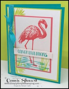 Make It Monday - FLAMINGO CONGRATULATIONS - download the FREE tutorial at www.SimplySimpleStamping.com - look for the June 5, 2017 blog post!