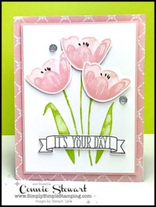 Make It Monday - TRANQUIL TULIPS - download the FREE tutorial at www.SimplySimpleStamping.com - look for the June 19, 2017 blog post!