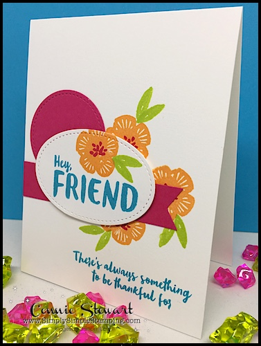 NOW or WOW Flash Card Video - check out this cheery HEY FRIEND card - www.SimplySimpleStamping.com - see the video on the August 23, 2017 blog post!