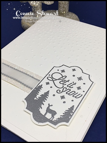 Make It Monday - Create this quick LET IT SNOW Christmas Card - download the FREE tutorial at www.SimplySimpleStamping.com - look for the September 18, 2017 blog post!