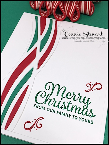 Make It Monday - Create this MERRY CHRISTMAS SWIRL Card - download the FREE tutorial at www.SimplySimpleStamping.com - look for the September 25, 2017 blog post!