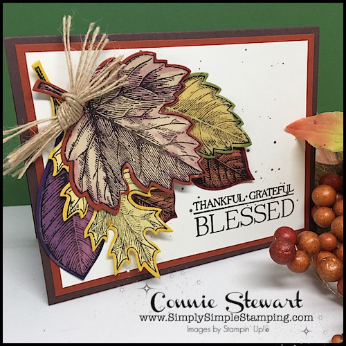 Thankful Grateful Blessed Bleached Leaves card! Video Tutorial available at www.SimplySimpleStamping.com. Look for the October 20, 2017 blog post!