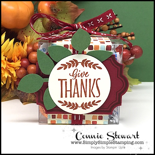 Make It Monday - Create this GIVE THANKS TREAT BOX - download the FREE tutorial at www.SimplySimpleStamping.com - look for the October 9, 2017 blog post!