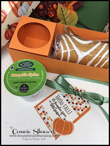 It's Pumpkin Spice Latte Season - celebrate with this gift box with a Pumpkin Spice Roll and K-Cup! Video Tutorial available at www.SimplySimpleStamping.com. Look for the October 11, 2017 blog post!