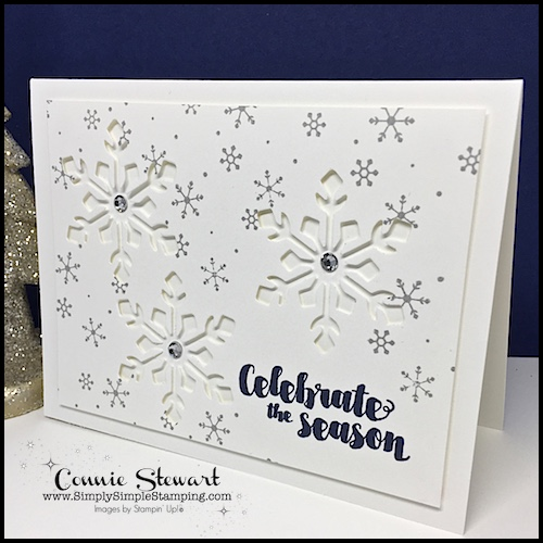 Celebrate the Season - 2 for 1 Snowflake Card! Video Tutorial available at www.SimplySimpleStamping.com. Look for the October 18, 2017 blog post!