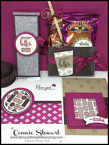 Order the MORE THAN CHOCOLATE tutorial collection at www.SimplySimpleStamping.com. Check out the October 26-27, 2017 blog posts for 2 free videos!