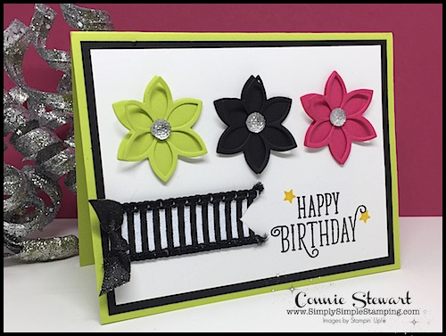 2-Minute Tuesday Tip - learn a quick tip to adding ribbon to a card! Check it out at www.SimplySimpleStamping.com - November 7, 2017