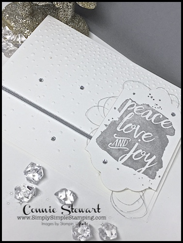 Make It Monday - Create this PEACE, LOVE, JOY card - download the FREE tutorial at www.SimplySimpleStamping.com - look for the November 20, 2017 blog post!
