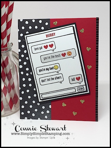Make It Monday - Texting My Hubby card - download the FREE tutorial at www.SimplySimpleStamping.com - look for the January 29, 2018 blog post!