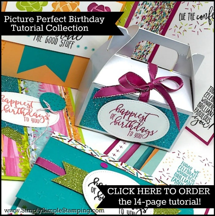 Order the PICTURE PERFECT BIRTHDAY TUTORIAL COLLECTION - a 14-page pdf with 6 fabulous projects created with the Picture Perfect stamp set and matching Designer Paper. www.SimplySimpleStamping.com