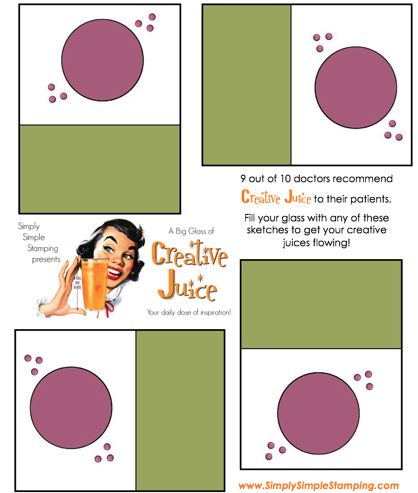 Join Connie in a big glass of Creative Juice! Fun sketches to get your creative juices flowing. A new set of sketches every week! www.SimplySimpleStamping.com - January 19, 2018 blog post!