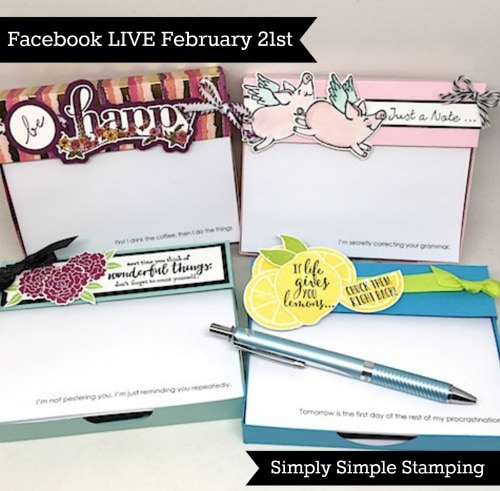 Join Connie for a Facebook LIVE event on Wednesday, FEBRUARY 21, 2018 at 7pm central time! Look for Simply Simple Stamping on Facebook! www.SimplySimpleStamping.com