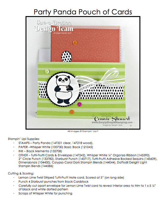 Join the SALE-A-BRATE Design Team each Thursday on www.SimplySimpleStamping.com for a new over the top WOW project using one of the 2018 Sale-a-Bration stamp sets! Party Panda Pouch - February 8, 2018