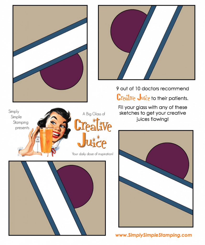 Join Connie in a big glass of Creative Juice! Fun sketches to get your creative juices flowing. A new set of sketches every week! www.SimplySimpleStamping.com - March 9, 2018 blog post!