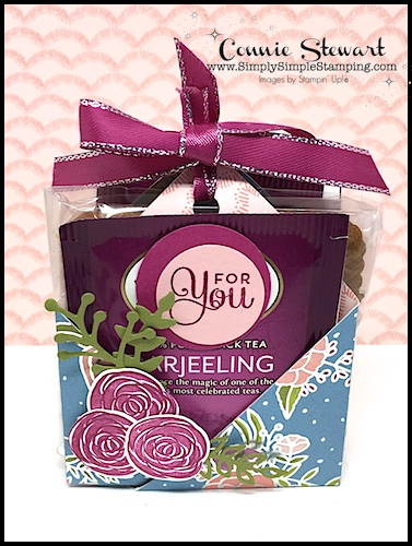 """Facebook Live Rewind - It's another ONE SHEET WONDER project! Learn how to create (4) tea & cookie holders with just (1) 12"""" x 12"""" piece of Designer Paper. See the video at www.SimplySimpleStamping.com - look for the March 28, 2018 blog post."""