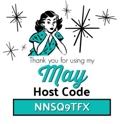 Use the MAY Host Code NNSQ9TFX on your order of $30 or more and receive Surprise & Delight in your hand stamped thank you card!  www.SimplySimpleStamping.com