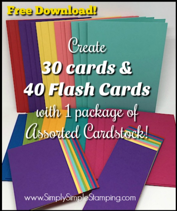 Learn to create 30 Card Bases and 40 Flash Cards with 1 package of Assorted Cardstock - video tutorial and FREE DOWNLOAD! www.SimplySimpleStamping.com - look for the May 30, 2018 blog post!