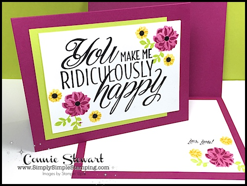 MAKE IT IN MINUTES VIDEO - You Make Me Ridiculously Happy Card - see the video and lots of photos at www.SimplySimpleStamping.com - look for the May 9, 2018 blog post