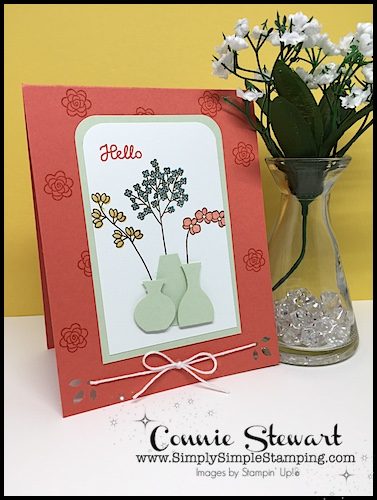 Join Connie For A FLASH CARD Video! Varied Vases Hello Card    Www.SimplySimpleStamping