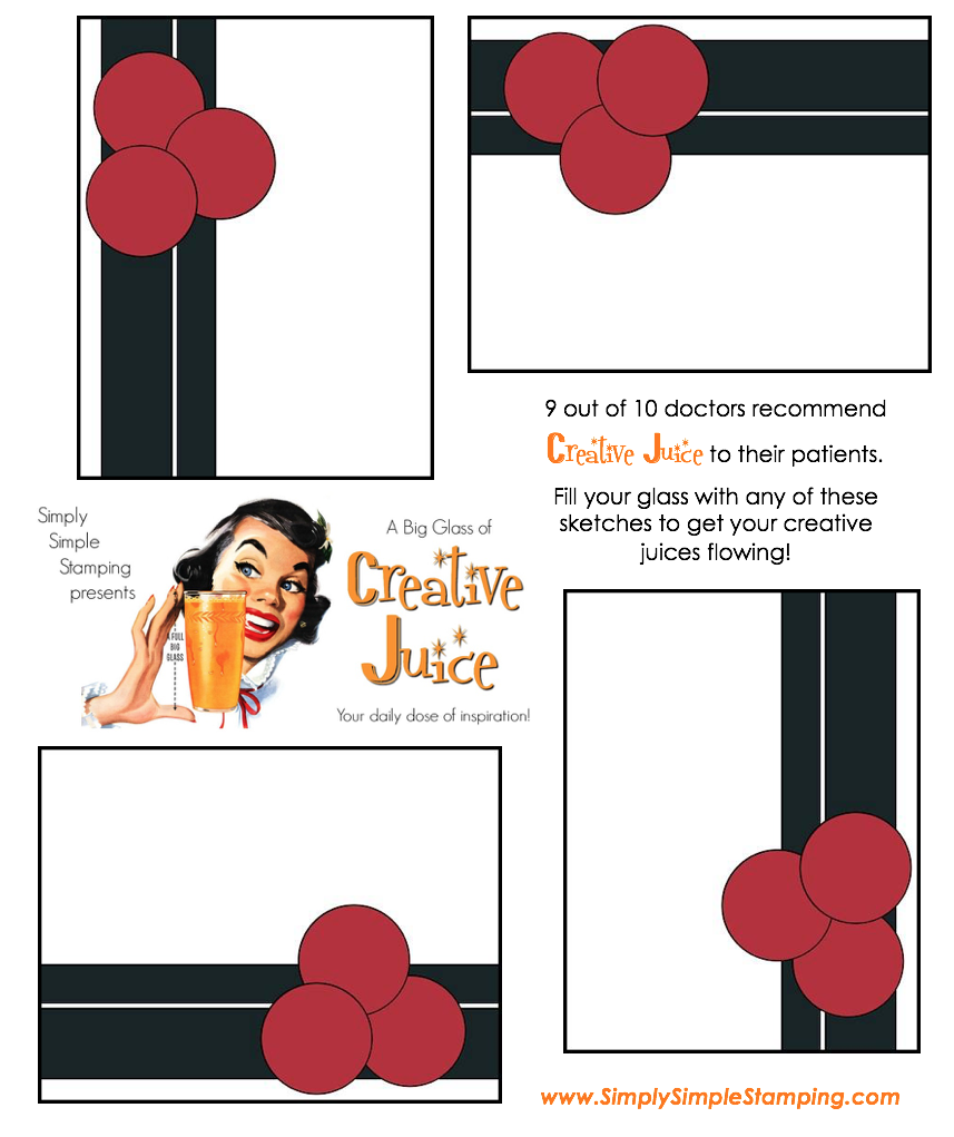 Join Connie in a big glass of Creative Juice! Fun sketches to get your creative juices flowing. A new set of sketches every week! www.SimplySimpleStamping.com - July 20, 2018 blog post!