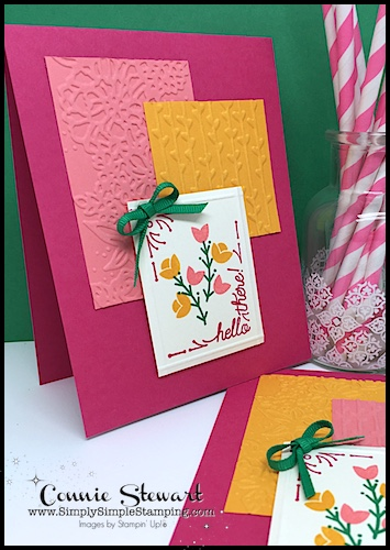 Join Connie for a FLASH CARD 2.0 video! create 2 for 1 Hello There cards - www.SimplySimpleStamping.com - look for the July 19, 2018 blog post!