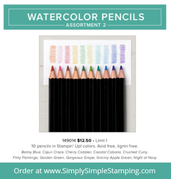 Get ready for the newest assortment of Watercolor Pencils! Available while supplies last (or until Aug. 31) - order yours at www.SimplySimpleStamping.com