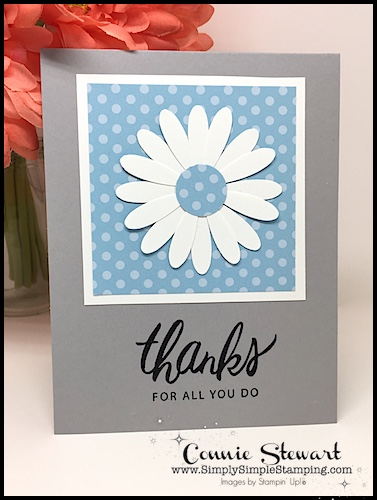 """SPEEDY DELIVERY 2-Minute Video - watch Connie Stewart create these 4 cards with a 6"""" x 6"""" Designer Series Paper and the Daisy punch. Easy and SPEEDY! www.SimplySimpleStamping.com"""