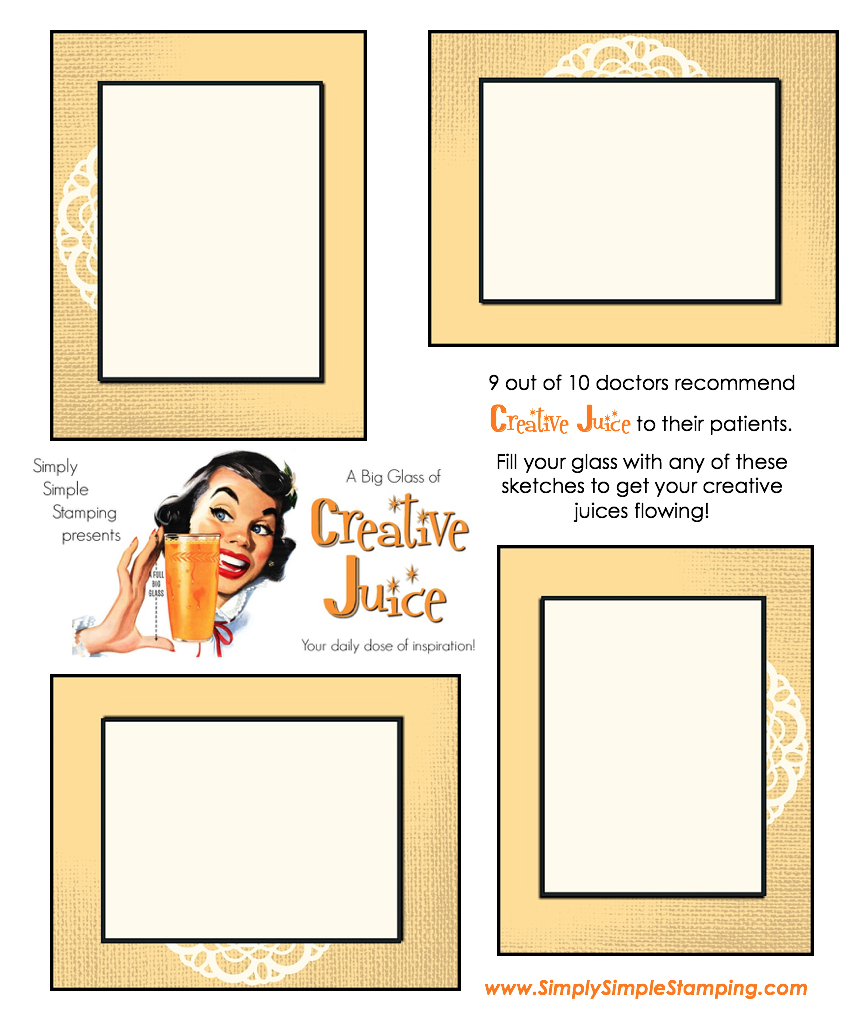 Join Connie in a big glass of Creative Juice! Fun sketches to get your creative juices flowing. A new set of sketches every week! www.SimplySimpleStamping.com - October 5, 2018 blog post!
