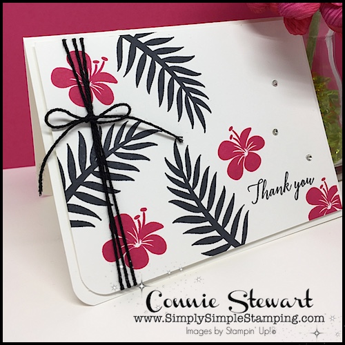 Tropical Chic Thank You Card- SPEEDY DELIVERY 2-Minute Video - watch Connie Stewart create this quick card with the Tropical Chic stamp set. Easy and SPEEDY! Look for the October 6, 2018 post on www.SimplySimpleStamping.com #cardmaking #greetingcards #speedydelivery #stampinupcards #conniestewart #simplysimplestamping