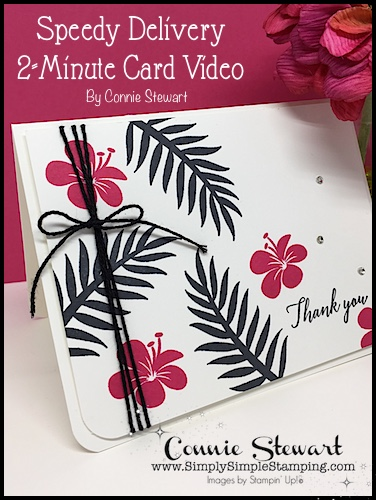 SPEEDY DELIVERY 2-Minute Video - watch Connie Stewart create this quick card with the Tropical Chic stamp set.  Easy and SPEEDY!  Look for the October 6, 2018 post on www.SimplySimpleStamping.com